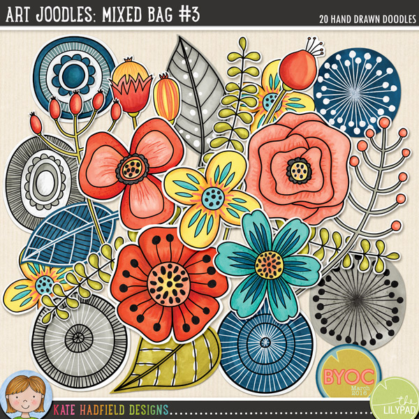 A collection of whimsical, hand painted doodles that are perfect for adding a touch of hand-made fun to your layouts, art journals and other projects! Contains the following hand painted doodles: 6 circles, 5 flowers, 3 leaves, 3 seedpods, 3 sprigs. Part of the March 2016 BYOC collection.FOR PERSONAL & EDUCATIONAL USE (please see myTerms of Usefor more information)