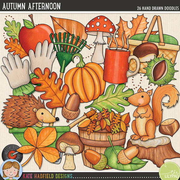 Autumn Afternoon - fall digital scrapbook elements and cute autumn leaves clip art pack! Hand-drawn illustrations for digital scrapbooking, crafting and teaching resources from Kate Hadfield Designs.