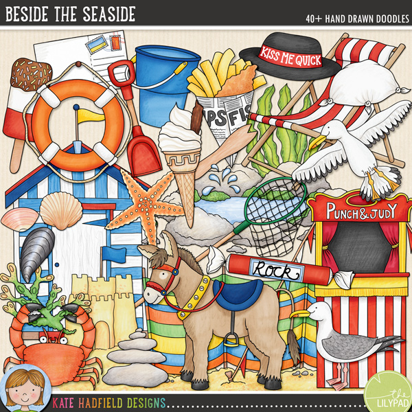 A celebration of the British seaside traditions of my childhood! Contains the following hand drawn doodles: beach hut, bucket and spade, bunting, crab, 2 deckchairs, dipping net, donkey, fish and chips, fork, ice cream cone, ice lolly, Kiss Me Quick hat, knotted hanky, life ring, postcard, Punch and Judy stand, 3 rocks, rock pool, 2 patches of sand, 2 sand castles, 2 seagulls, 2 pieces of seaweed, 5 sea shells, water splash, stack of rocks, starfish, stick of rock and windbreak.FOR PERSONAL & EDUCATIONAL USE (please see my Terms of Use for more information)