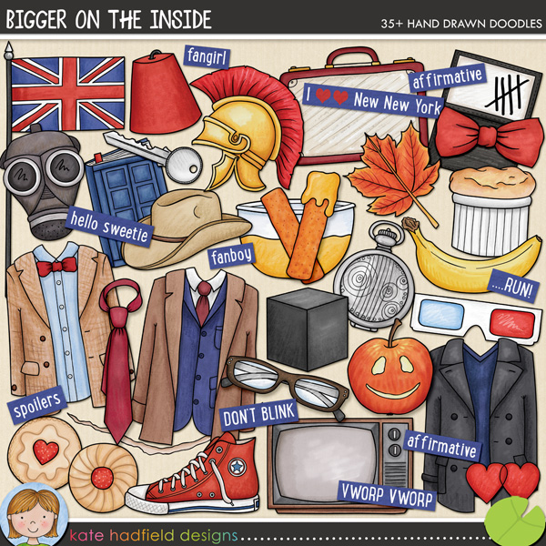 Bigger on the Inside celebrates the new era of my favourite sci-fi series! Contains the following hand drawn doodles: 3D glasses, apple, banana, bow tie, crack, cube, bowl of custard, diary, 2 fezzes, 2 fishfingers, British flag, gas mask, glasses, 2 hearts, 2 jam biscuits, key, leaf, 3 outfits, paper, roman helmet, shoe, soufflé, Stetson, suitcase, tally marks, tie, TV and fob watch. Also contains the following wordy-bits: affirmative, ALLONS-Y!, bigger on the inside, DON'T BLINK, fanboy, fangirl, FANTASTIC!, GERONIMO!, hello sweetie, I wear a ......... now ......... are cool!, I love New New York, new who, NO MORE, still not ginger, OOOH WEEE OOOH, pretend its a plan, Rule No.1, ...RUN!, run for your life!, The Doctor will see you now, shenanigans, smaller on the outside, spoilers, timey-wimey, VWORP VWORP.	FOR PERSONAL / LIMITED S4H USE (please see my Terms of Use for more information)