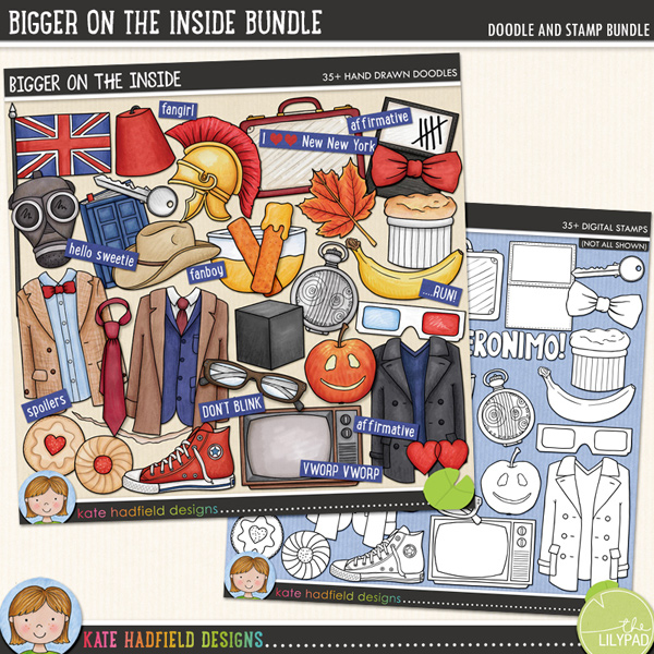 Bigger on the Inside celebrates the new era of my favourite sci-fi series! Contains the following hand drawn doodles: 3D glasses, apple, banana, bow tie, crack, cube, bowl of custard, diary, 2 fezzes, 2 fishfingers, British flag, gas mask, glasses, 2 hearts, 2 jam biscuits, key, leaf, 3 outfits, paper, roman helmet, shoe, soufflé, Stetson, suitcase, tally marks, tie, TV and fob watch. Also contains the following wordy-bits: affirmative, ALLONS-Y!, bigger on the inside, DON'T BLINK, fanboy, fangirl, FANTASTIC!, GERONIMO!, hello sweetie, I wear a ......... now ......... are cool!, I love New New York, new who, NO MORE, still not ginger, OOOH WEEE OOOH, pretend its a plan, Rule No.1, ...RUN!, run for your life!, The Doctor will see you now, shenanigans, smaller on the outside, spoilers, timey-wimey, VWORP VWORP.Extra Value Bundle containing:Bigger on the Inside Bigger on the Inside StampsFOR PERSONAL / LIMITED S4H USE (please see my Terms of Use for more information)