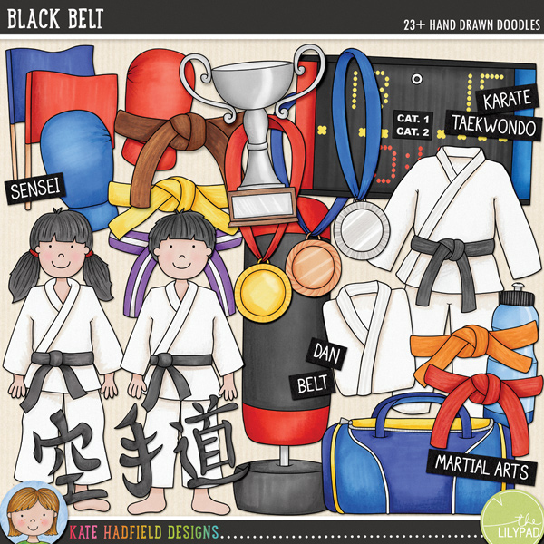 The perfect doodle pack for karate kids and martial artists! Contains the following hand drawn doodles: belts in the following colours: black, blue, brown, green, orange, purple, purple and white stripes, red, white and yellow; boy; girl; blue flag and red flag; shin and foot pads; Gi (with and without belt); folded Gi; sports holdall; Karate symbols; gold, silver and bronze medals; red and blue mitts; punch bag; scoreboard (with separate numbers and symbols); trophy and waterbottle. Also contains the following hand drawn Wordy-Bits: belt, dan, dojo, gi, grading, karate, kata, kihon, kumite, kyu, martial arts; renraku waza, sempai, sensei, taekwondo and tournament.Co-ordinates with my Karate Kids doodles! FOR PERSONAL & EDUCATIONAL USE (please see myTerms of Usefor more information)