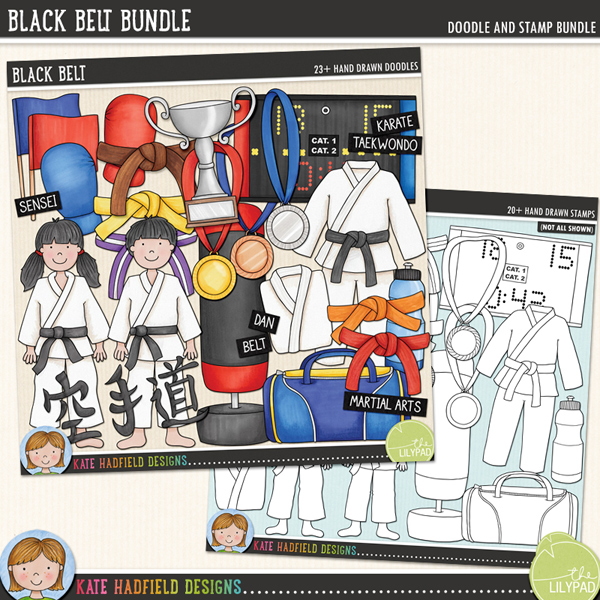 The perfect doodle pack for karate kids and martial artists! Contains the following hand drawn doodles: belts in the following colours: black, blue, brown, green, orange, purple, purple and white stripes, red, white and yellow; boy; girl; blue flag and red flag; shin and foot pads; Gi (with and without belt); folded Gi; sports holdall; Karate symbols; gold, silver and bronze medals; red and blue mitts; punch bag; scoreboard (with separate numbers and symbols); trophy and waterbottle. Also contains the following hand drawn Wordy-Bits: belt, dan, dojo, gi, grading, karate, kata, kihon, kumite, kyu, martial arts; renraku waza, sempai, sensei, taekwondo and tournament.	Extra Value Bundle pack containing:			Black Belt			Black Belt Stamps	Co-ordinates with my Karate Kids doodles!	FOR PERSONAL / LIMITED S4H USE (please see my Terms of Use for more information)