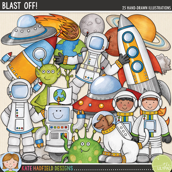Blast Off is a fun set of hand drawn doodles that are - wait for it - out of this world! Perfect for scrapping your little astronaut's imaginative adventures or trips to the planetarium, Blast Off contains the following doodles: 2 aliens; space dog; 3 astronauts; 2 astronaut boys; 2 astronaut girls; comet; 2 UFOs / flying saucers; planets Earth, Jupiter, Mars and Saturn; moon; lunar landscape; meteor; robot and 2 rockets (each supplied in versions with and without blast off flames!).*NEW* Also includes cutout versions of the astronauts, rockets and flying saucers to include transparent sections (perfect for adding a photograph!) The astronauts have alternative versions with transparent helmets, the rockets and flying saucers have alternative versions with transparent windows.FOR PERSONAL & EDUCATIONAL USE (please see myTerms of Usefor more information)