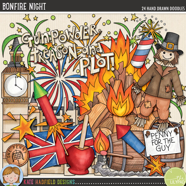 Bonfire Night - Guy Fawkes Night digital scrapbook elements and clip art! Hand-drawn doodles and illustrations for digital scrapbooking, crafting and teaching resources from Kate Hadfield Designs.