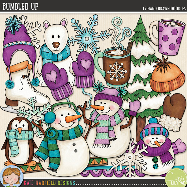 Steaming hot cocoa, snowball fights, warm woollen mittens and carrot-nosed snowmen – that's what this pack is made of! Contains the following hand-drawn wintery doodles: 2 doodle strips, 2 woolly hats, 2 mugs of hot chocolate, steam, mitten, pair of mittens, penguin, polar bear, ice skate, 3 snowflakes, 3 snowmen and snowy tree.FOR PERSONAL & EDUCATIONAL USE (please see my Terms of Use for more information)