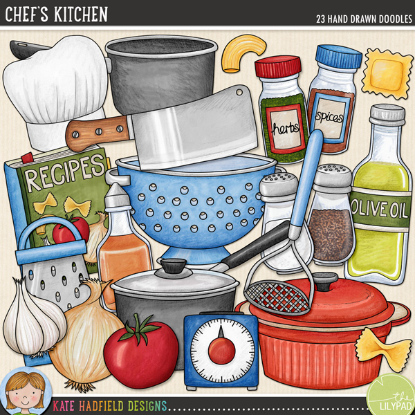 Chef's Kitchen: Cookery digital scrapbook elements / cute kitchen and cooking clip art! Hand-drawn doodles and illustrations for digital scrapbooking, crafting and teaching resources from Kate Hadfield Designs.
