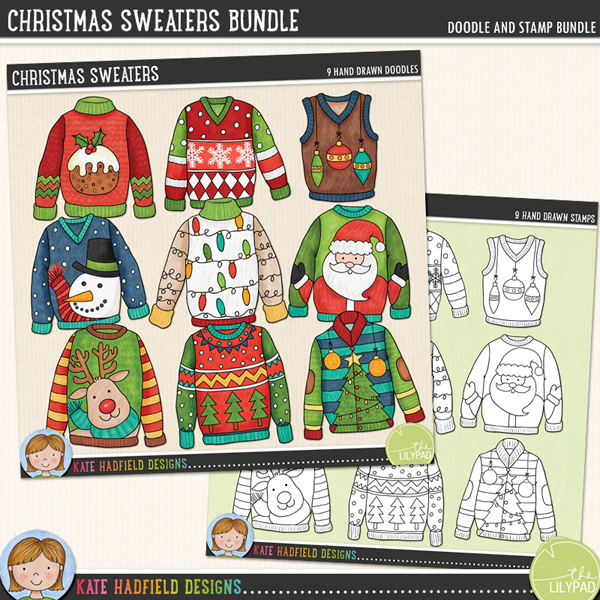 A selection of colourful, characterful Christmas sweater doodles inspired by Christmas Jumper Day (and ugly Christmas sweater parties!!). Contains the following designs (average size: 3-4): baubles, lights, Christmas pudding, reindeer, Santa, snowflakes, snowman, Christmas tree and Christmas tree pattern. Coordinates with the 2014 Document Your December (DYD) collection.FOR PERSONAL & EDUCATIONAL USE (please see myTerms of Usefor more information)