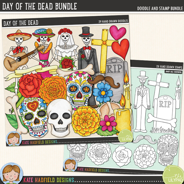 A doodled celebration of Día de los Muertos and all that goes with it! Contains the following hand drawn doodles: banner, 2 bones, 2 pan de los muertos, 2 candles, cross, 2 flowers, tombstone and grass, 2 hearts, 3 leaves, 2 marigolds, moustaches, 2 roses, 4 skeleton figures (musician, lady, bride, groom), skull and 2 sugar skulls.Extra value bundle pack includes:Day of the DeadDay of the Dead StampsFOR PERSONAL & EDUCATIONAL USE (please see myTerms of Usefor more information)