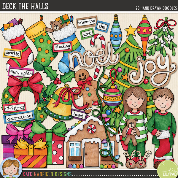 From the pyjamas to stockings and gifts to gingerbread houses, Deck the Halls is packed with Christmas fun (and LOADS of festive cheer!) Contains the following hand drawn doodles: 4 baubles and 3 hangers, bell, candy cane, Christmas tree, string of lights, 3 gifts, gingerbread house, gingerbread man, holly sprig, mistletoe, boy and girl in Christmas pyjamas, wreath, 3 stockings and joy and noel word doodles. Also contains the following wordy-bits: baubles, bell, Christmas, decorate, decorating, decorations, fairy lights, garland, gingerbread, holly, magic, sparkle, stocking, the, tinsel, tree, trim, trimming, twinkle lights and wreath.FOR PERSONAL & EDUCATIONAL USE (please see myTerms of Usefor more information)