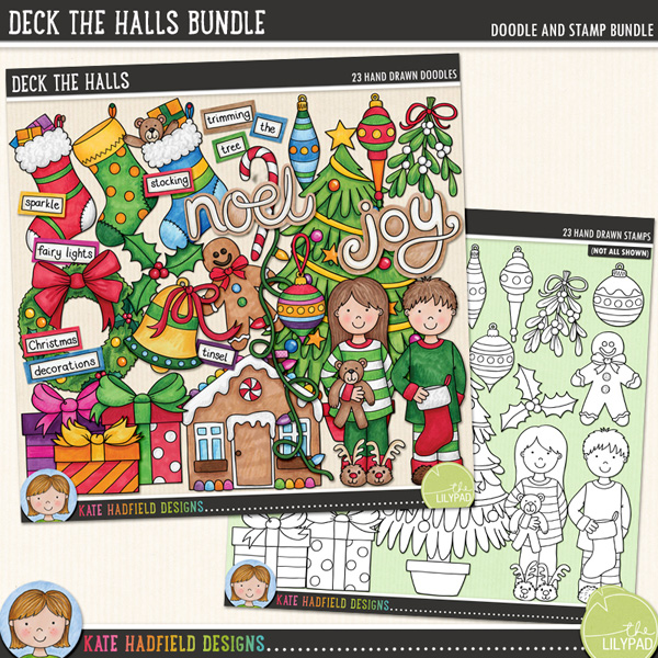 From the pyjamas to stockings and gifts to gingerbread houses, Deck the Halls is packed with Christmas fun (and LOADS of festive cheer!) Contains the following hand drawn doodles: 4 baubles and 3 hangers, bell, candy cane, Christmas tree, string of lights, 3 gifts, gingerbread house, gingerbread man, holly sprig, mistletoe, boy and girl in Christmas pyjamas, wreath, 3 stockings and joy and noel word doodles. Also contains the following wordy-bits: baubles, bell, Christmas, decorate, decorating, decorations, fairy lights, garland, gingerbread, holly, magic, sparkle, stocking, the, tinsel, tree, trim, trimming, twinkle lights and wreath.Extra Value Bundle containing:Deck the HallsDeck the Halls StampsFOR PERSONAL & EDUCATIONAL USE (please see myTerms of Usefor more information)