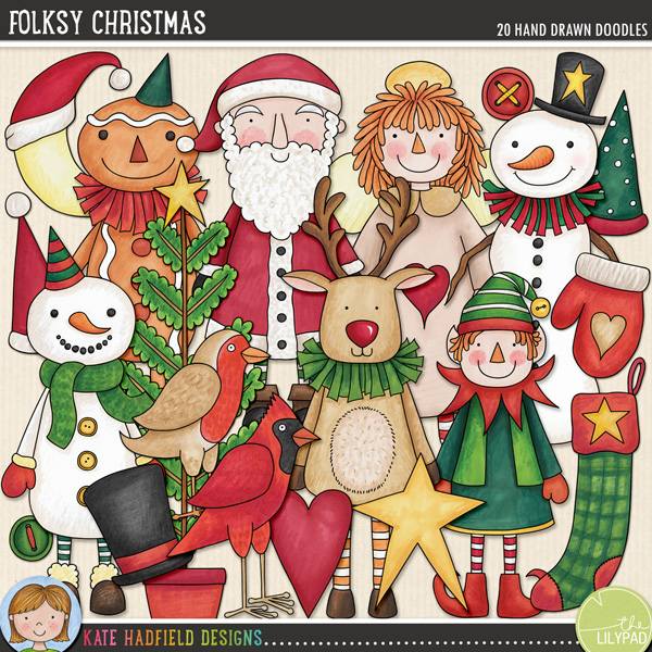 Inspired by folk and primitive art, this collection of Christmas characters is sure to add a touch of hand-made, folksy whimsy to your seasonal pages and projects! Contains the following hand drawn doodles: angel doll, 2 buttons, red cardinal, elf, Father Christmas, gingerbread man, 3 hats, heart, mitten, moon, reindeer, robin, 2 snowmen, star, stocking and tree.FOR PERSONAL & EDUCATIONAL USE (please see myTerms of Usefor more information)