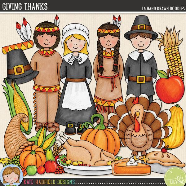 Giving Thanks is a celebration of that all-American tradition: Thanksgiving! Contains the following hand drawn doodles: apple, apple pie, colourful corn, cornucopia, gourd, native American headdress, native American boy and girl, pilgrim boy and girl, slick of pumpkin pie, pilgrim hat, pumpkin, roast turkey platter, sweetcorn and turkey.FOR PERSONAL & EDUCATIONAL USE (please see my Terms of Use for more information)