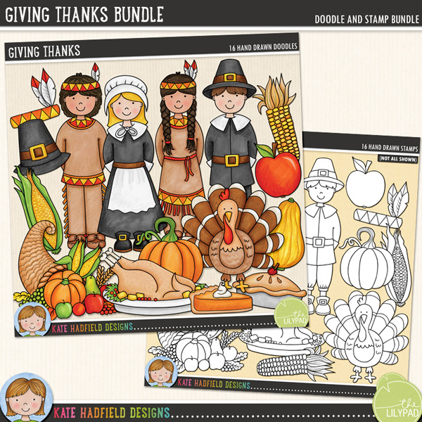 Giving Thanks is a celebration of that all-American tradition: Thanksgiving! Contains the following hand drawn doodles: apple, apple pie, colourful corn, cornucopia, gourd, native American headdress, native American boy and girl, pilgrim boy and girl, slick of pumpkin pie, pilgrim hat, pumpkin, roast turkey platter, sweetcorn and turkey.Extra Value Bundle containing:Giving ThanksGiving Thanks StampsFOR PERSONAL & EDUCATIONAL USE (please see myTerms of Usefor more information)
