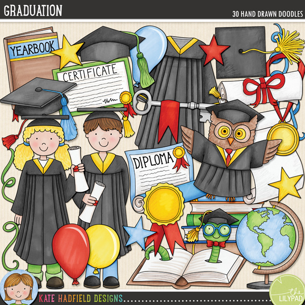 A colourful, fun-packed collection to help you celebrate the academic achievements of all your little learners! Graduation contains the following hand drawn doodles: 3 balloons, pile of books, bookworm in book, 4 graduation caps, certificate, diploma, globe, gown, graduate boy, graduate girl, 2 keys, medal, owl, rosette, 2 scrolls, 3 stars, 4 streamers, tassel and yearbook.FOR PERSONAL & EDUCATIONAL USE (please see myTerms of Usefor more information)