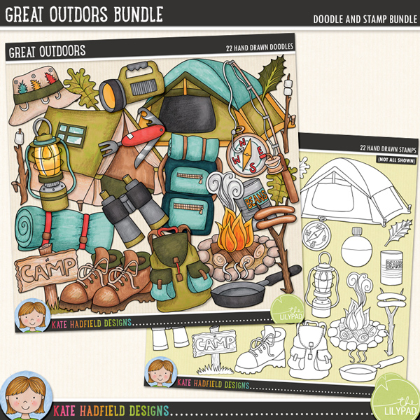 A fun set of outdoorsy camping doodles perfect for recording all your camping, fishing or hiking adventures in the great outdoors! Contains the following hand drawn doodles: binoculars, boot, camp-fire, compass, fishing hat, fishing rod, lamp, 2 leaves, marshmallows on sticks, 2 x rucksacks, pan, penknife, sausages on sticks, camp (and blank) sign, sleeping bag, smoke, 2 x tents, can of beans, torch and water canteen.Great OutdoorsGreat Outdoors StampsFOR PERSONAL & EDUCATIONAL USE (please see myTerms of Usefor more information)
