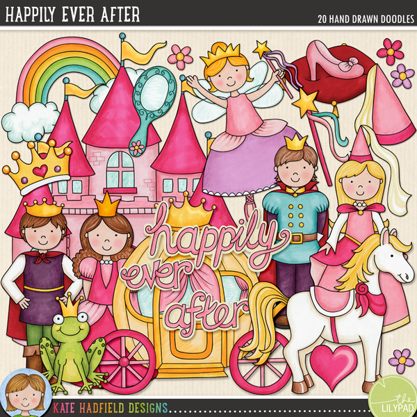 A set of fairytale inspired doodles full of happy endings! Contains the following hand-drawn doodles: princess carriage, castle, crown, fairy godmother, 3 flowers, frog prince, heart, mirror, pony, 2 princes, 2 princesses, princess hat, rainbow, slipper on a cushion, wand and 'happily ever after' wordart pieces. The companion set to my When Knights Were Bold doodles!FOR PERSONAL & EDUCATIONAL USE (please see myTerms of Usefor more information)