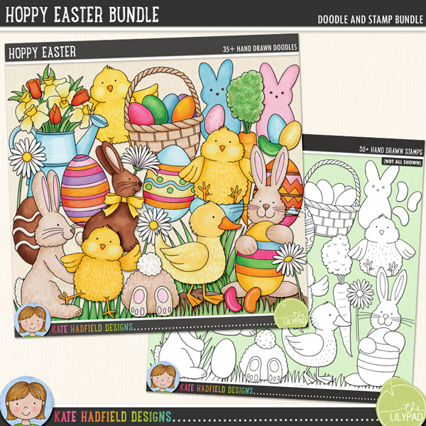 Created for the first winner of the 2015 Custom Doodle contest, the brief was colourful Easter doodles with lots of bunnies, chicks and eggs!. Celebrate Easter in cutesy style with these new hand drawn doodles! Hoppy Easter includes the following hand drawn doodles: 2 baskets (one with eggs, one without), 5 bunnies, 2 candy bunnies, candy chick, 3 candy eggs, 2 carrots, 3 chicks, chocolate bunny, chocolate egg, 3 daisies, 2 duck eggs, 2 ducklings, 5 painted Easter eggs, 4 patches of grass (and 2 patches of snow and grass), 3 jellybeans and a watering can with spring flowers.Extra Value Bundle containing:Hoppy EasterHoppy Easter StampsFOR PERSONAL & EDUCATIONAL USE (please see myTerms of Usefor more information)