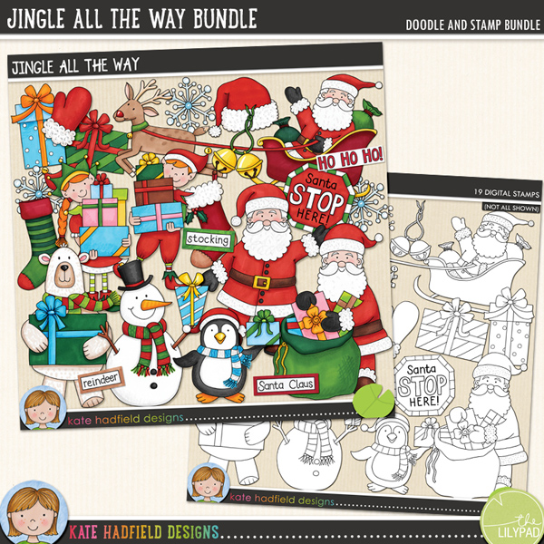 Jingle All The Way is packed with cheerful colours and fun loving festive characters bearing gifts! Sure to add a touch of fun and whimsy to your pages and projects, this pack contains the following hand drawn doodles: elf boy, elf girl, 3 gifts, jingle bells, mitten, penguin, polar bear, gift sack, 2 Santas, Santa hat, Santa sleigh, snowflake, snowman, 2 stockings and Santa stop here! sign. Also contains the following wordy-bits: bells, elf, elves, Father Christmas, gifts, Ho Ho Ho, jingle, North Pole, presents, reindeer, Rudolph, Santa Claus, sleigh, stocking.	Extra Value Bundle pack containing:			Jingle All the Way			Jingle All the Way StampsFOR PERSONAL & EDUCATIONAL USE (please see my Terms of Use for more information)