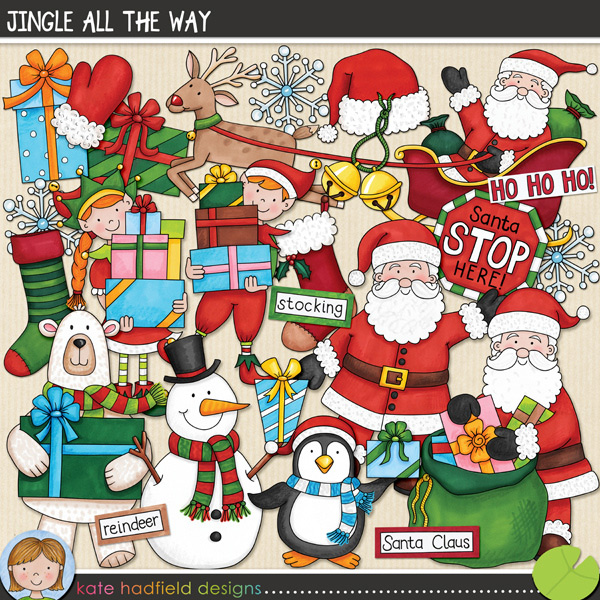 Jingle All The Way is packed with cheerful colours and fun loving festive characters bearing gifts! Sure to add a touch of fun and whimsy to your pages and projects, this pack contains the following hand drawn doodles: elf boy, elf girl, 3 gifts, jingle bells, mitten, penguin, polar bear, gift sack, 2 Santas, Santa hat, Santa sleigh, snowflake, snowman, 2 stockings and Santa stop here! sign. Also contains the following wordy-bits: bells, elf, elves, Father Christmas, gifts, Ho Ho Ho, jingle, North Pole, presents, reindeer, Rudolph, Santa Claus, sleigh, stocking.FOR PERSONAL & EDUCATIONAL USE (please see myTerms of Usefor more information)