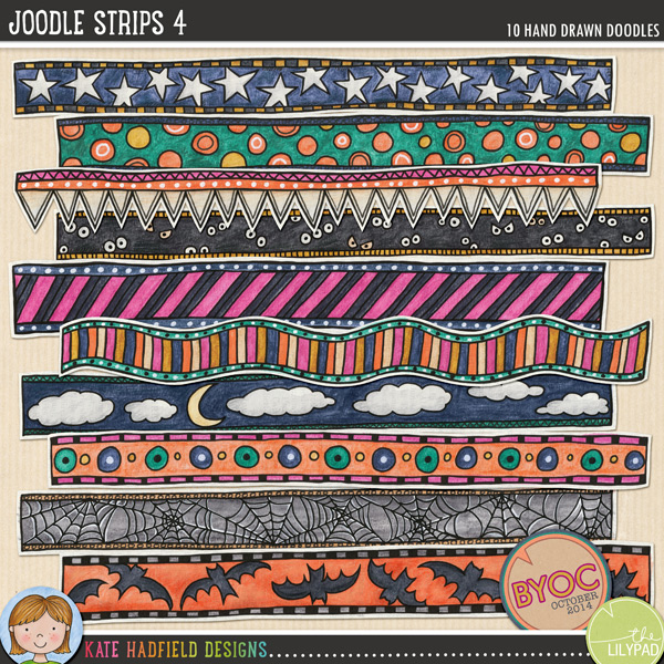 A collection of whimsical hand painted doodle strips to add a bit of hand-made fun to your pages and projects! Painted on vintage book pages, these Joodle Strips coordinate with the October 2014 BYOC collection. Contains 10 strips, average size 11.5 x 1.FOR PERSONAL & EDUCATIONAL USE (please see myTerms of Usefor more information)