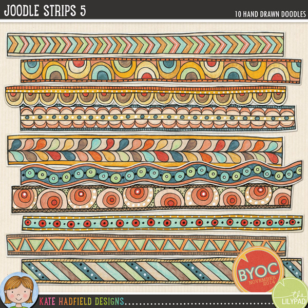 A collection of whimsical hand painted doodle strips to add a bit of hand-made fun to your pages and projects! Painted on vintage book pages, these Joodle Strips coordinate with the November 2014 BYOC collection. Contains 10 strips, average size 11.5 x 1.FOR PERSONAL & EDUCATIONAL USE (please see myTerms of Usefor more information)