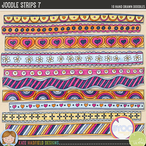 A collection of lovey-dovey, whimsical, painted doodle strips to add a bit of hand-made fun to your pages and projects! Coloured on vintage book pages, these Joodle Strips coordinate with the February 2015 BYOC collection. Contains 10 strips, average size 11.5 x 1.FOR PERSONAL & EDUCATIONAL USE (please see myTerms of Usefor more information)