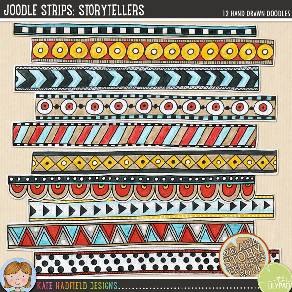 A collection of whimsical hand painted doodle strips to add a bit of hand-made fun to your pages and projects! Painted on vintage book pages, these Joodle Strips coordinate with the September 2014 Storytellers collection. Contains 12 strips, average size 11.5 x 1.FOR PERSONAL & EDUCATIONAL USE (please see my Terms of Use for more information)