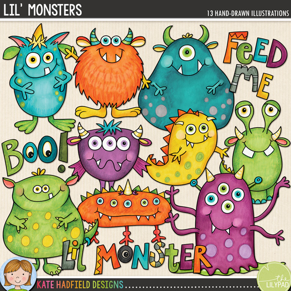 Lil' Monsters digital scrapbook elements / cute monster clip art (perfect for Halloween!). Hand-drawn doodles and illustrations for digital scrapbooking, crafting and teaching resources from Kate Hadfield Designs.