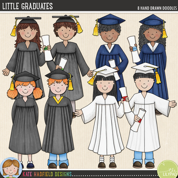 A set of little graduate kids in gowns, celebrating their success! Contains 8 hand drawn characters: four girls and four boys (approx size 8)FOR PERSONAL & EDUCATIONAL USE (please see my Terms of Use for more information)
