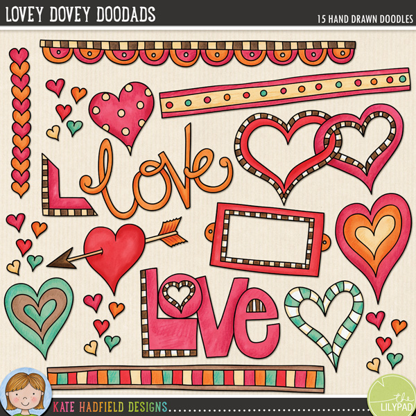 A collection of lovey dovey bits and pieces that are perfect for adding a romantic touch of hand drawn whimsy to your pages and projects! Contains: arrow heart, bookplate, 3 doodle strips, entwined hearts, 4 other hearts, 2 'love' wordart pieces, book corner, row of hearts and cluster of tiny hearts.FOR PERSONAL & EDUCATIONAL USE (please see myTerms of Usefor more information)