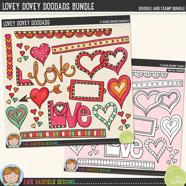 A collection of lovey dovey bits and pieces that are perfect for adding a romantic touch of hand drawn whimsy to your pages and projects! Contains: arrow heart, bookplate, 3 doodle strips, entwined hearts, 4 other hearts, 2 'love' wordart pieces, book corner, row of hearts and cluster of tiny hearts.	Extra Value Bundle including:			Lovey-Dovey Doodads			Lovey-Dovey Doodads StampsFOR PERSONAL & EDUCATIONAL USE (please see my Terms of Use for more information)