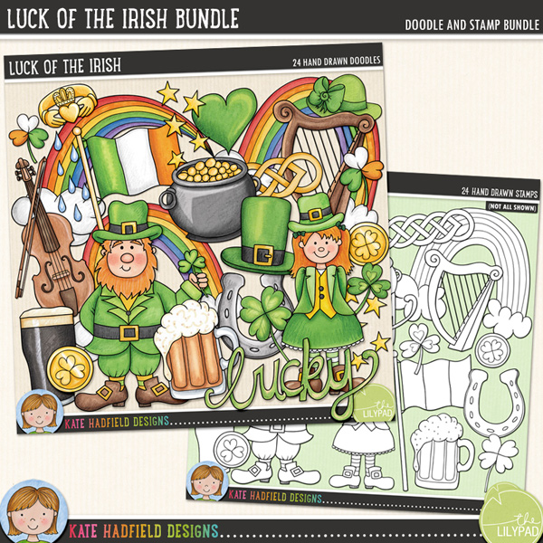 Everyone's Irish on St Patrick's Day! Perfect for all your lucky pages and projects, Luck of the Irish contains the following hand-drawn pages: Celtic knot, claddagh ring, fiddle and bow, Irish flag, 2 gold coins, harp, leprechaun hat, hat, heart, lucky horseshoe, Irish stout, leprechaun, leprechaun girl, pipe, Lucky wordart, pint of beer, pot of gold, 2 rainbows, raindrops, 3 shamrock and star sprinkle.Extra Value Bundle containing:Luck of the IrishLuck of the Irish StampsFOR PERSONAL & EDUCATIONAL USE (please see myTerms of Usefor more information)