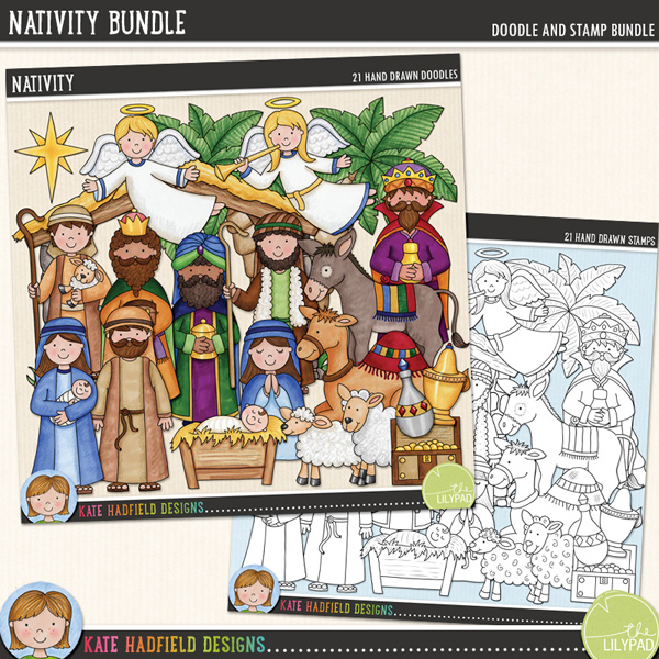 A collection of Nativity doodles that are perfect for adding a touch of hand-drawn whimsy to your your layouts and projects! Contains the following hand-drawn stamps: 2 angels, baby Jesus in manger, camel, donkey, casket of gold, bottle of frankincense, bottle of myrrh, sheep, lamb, Mary with baby Jesus, Joseph, 2 shepherds, stable, star, tree and 3 wise men. (Average size of figures: 6 inches tall)Extra Value Bundle containing the following:NativityNativity StampsFOR PERSONAL & EDUCATIONAL USE (please see myTerms of Usefor more information)