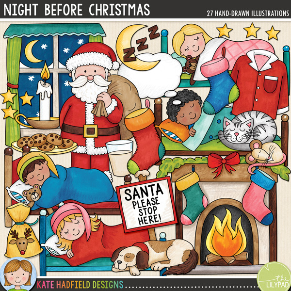 Night Before Christmas celebrates that magical pre-Christmas excitement of that night when 'not a creature was stirring, not even a mouse!' Contains the following Christmas Eve doodles: candle, cat, plate of cookies, dog, fireplace, glass of milk, moon, mouse, pj top and bottoms, bag of reindeer food, Santa with sack, Santa please stop here! sign, 4 sleeping boys in their beds, 4 sleeping girls in their beds, stars, 2 stockings, thought bubble, window and zzzz.FOR PERSONAL & EDUCATIONAL USE (please see myTerms of Usefor more information)