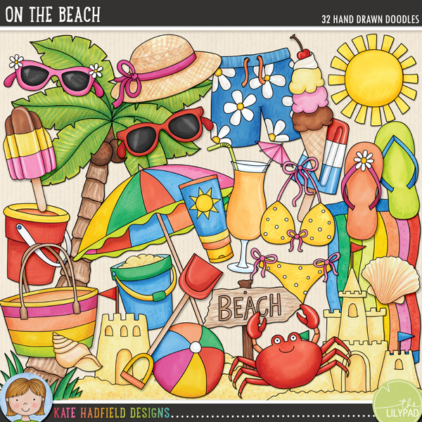 A summer celebration of all things beachy! Contains the following hand drawn doodles: beach bag, beach ball, beachscape, beach sign, beach towel, beach umbrella, bikini, 2 buckets, cocktail, crab, 2 flipflops, ice cream cone, 2 ice lollies, palm tree, rake, 2 sandcastles, 2 shells, shorts, spade, 2 starfish, sun, 2 pairs of sunglasses, 2 sunhats and sunscreen.FOR PERSONAL & EDUCATIONAL USE (please see myTerms of Usefor more information)