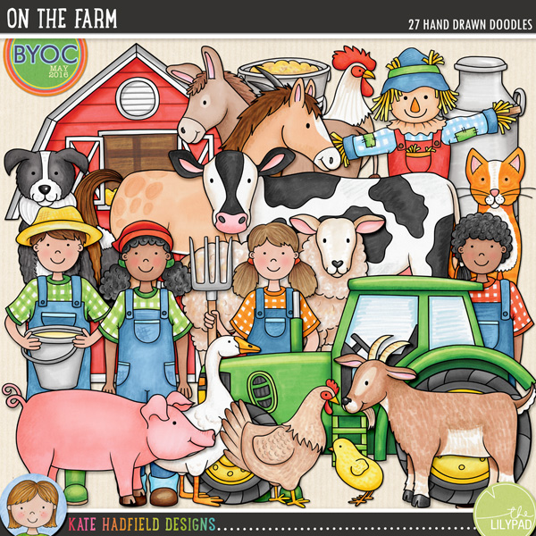The companion pack to my Farmer's Garden doodles, On the Farm focuses on the furry and feathered barnyard friends to be found down on the farm! Perfect for recording memories of farm trips and visits to the petting zoo, On the Farm contains the following hand drawn doodles: barn, cat, chick, cow, donkey, duck, 2 boy and 2 girl farmers, feed bucket, feed sack, goat, goose, hay bale, haystack, hen / chicken, hen house, horse, milk bucket, milk churn, pig, rooster, scarecrow, sheep, sheep dog and tractor.FOR PERSONAL & EDUCATIONAL USE (please see my Terms of Use for more information)