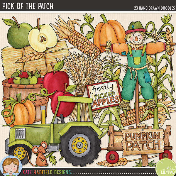 Pick of the Patch was created with all those apple picking, pumpkin patch visiting, Harvest Festival and Thanksgiving photos in mind! Contains the following doodles: 3 apples, barrel of apples, freshly picked apples sign, colourful corn, hay bale, tractor and hay cart, 2 maize plants, field mouse, 3 pumpkins and 3 vines, pumpkin patch sign, scarecrow, tractor, 2 ears of wheat and wheat sheaf.FOR PERSONAL & EDUCATIONAL USE (please see myTerms of Usefor more information)