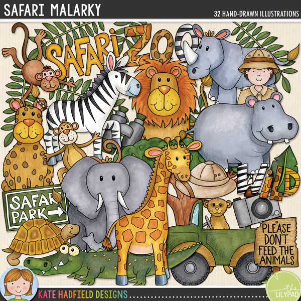 Safari Malarky - Zoo and safari animals digital scrapbook elements / cute wild animal clip art! Hand-drawn doodles, clipart and line art for digital scrapbooking, crafting and teaching resources from Kate Hadfield Designs.