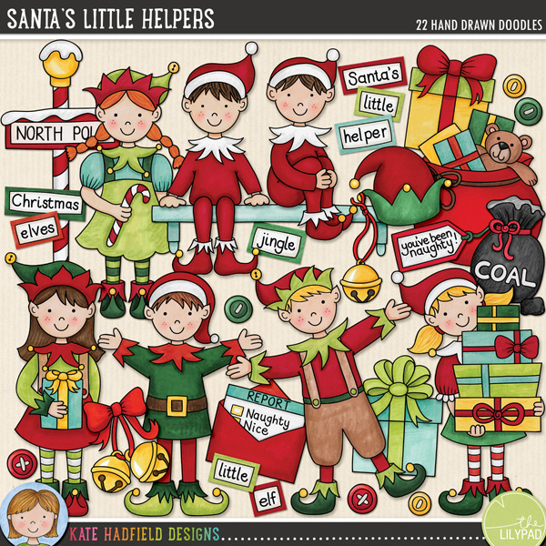 Do you have a cheeky little elf who visits your house, leaves you little surprises and reports back to Santa?! Maybe your elf even leaves bags of coal for those on Santa's Naughty List! Perfect for Santa's workshop pages and projects and for documenting the antics of your own visiting elf, Santa's Little Helpers contains the following hand drawn doodles: bag of coal, 3 loose pieces of coal and you've been naughty! tag (also includes you've been nice! tag for those who aren't naughty!!); 3 buttons, 5 standing elves in various poses, 3 gifts, 2 hats, 2 sets of jingle bells, North Pole sign, report to Santa, shelf, 2 seated elves and bag of toys.Also contains the following wordy-bits: bells, Christmas, coal, coming, elf, elves, helper, is, jingle, list, little, naughty, nice, North Pole, or, ?, report, Santa's, the and where.FOR PERSONAL & EDUCATIONAL USE (please see myTerms of Usefor more information)
