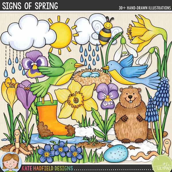 From those first green shoots peeking through the snow to the buzzing of early bees and the predictions of a certain groundhog, Signs of Spring celebrates the changing seasons and hints at warmer days to come! Contains the following hand drawn doodles: bee, 2 birds, 2 clouds, 2 crocuses, 2 daffodils, 2 eggs, forget-me-not flower, groundhog, 2 hyacinth flowers and leaves, birds' nest, 2 pansies, puddle, 2 rain doodles, 3 snow doodles, 3 snowdrops, 4 soil / mud doodles, splash, sun, 2 muddy wellies and 2 worms.FOR PERSONAL & EDUCATIONAL USE (please see myTerms of Usefor more information)