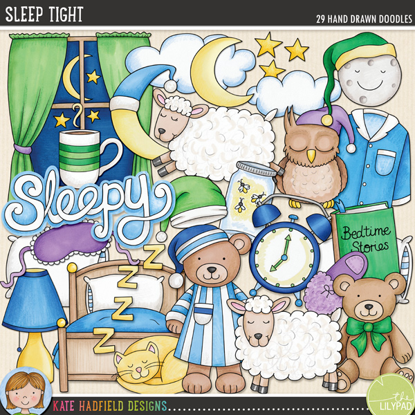 Inspired by bedtime routines and sweet dreams, Sleep Tight contains the following hand drawn doodles: alarm clock, bed, bedtime drink, sleeping cat, 2 clouds, eye mask, fireflies in a jar, lamp, crescent moon (with and without night cap), smiling moon with night cap, night cap, sleeping owl, pillow, 2 sets of pyjamas, 2 sheep, Sleepy wordart, 2 slippers, 3 stars, 2 story books, 2 teddy bears, window and zzzz wordart. Also includes the following hand written wordy-bits: bed time, bedtime story, blanket, counting sheep, dreamland, good night, Land of Nod, lights out, night night, sleep tight, sweet dreams, zzzzzzz.FOR PERSONAL & EDUCATIONAL USE (please see my Terms of Use for more information)