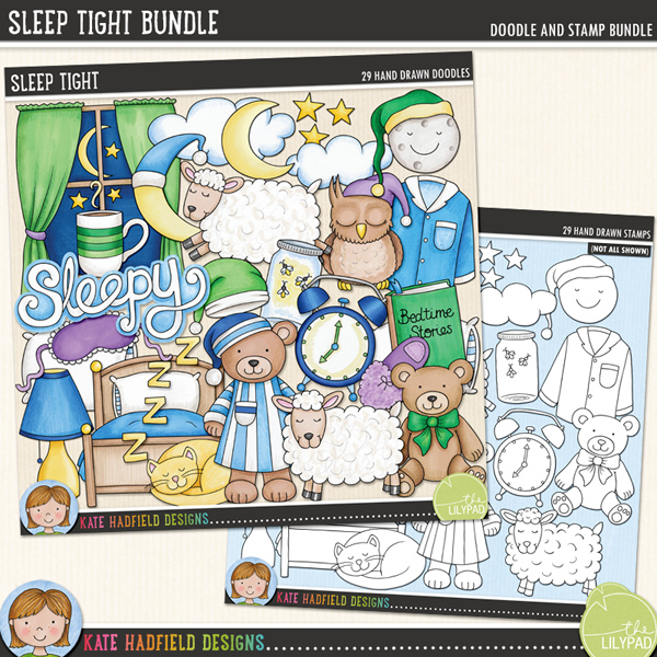 Inspired by bedtime routines and sweet dreams, Sleep Tight contains the following hand drawn doodles: alarm clock, bed, bedtime drink, sleeping cat, 2 clouds, eye mask, fireflies in a jar, lamp, crescent moon (with and without night cap), smiling moon with night cap, night cap, sleeping owl, pillow, 2 sets of pyjamas, 2 sheep, Sleepy wordart, 2 slippers, 3 stars, 2 story books, 2 teddy bears, window and zzzz wordart. Also includes the following hand written wordy-bits: bed time, bedtime story, blanket, counting sheep, dreamland, good night, Land of Nod, lights out, night night, sleep tight, sweet dreams, zzzzzzz.	Extra Value Bundle pack containing:			Sleep Tight			Sleep Tight StampsFOR PERSONAL & EDUCATIONAL USE (please see my Terms of Use for more information)