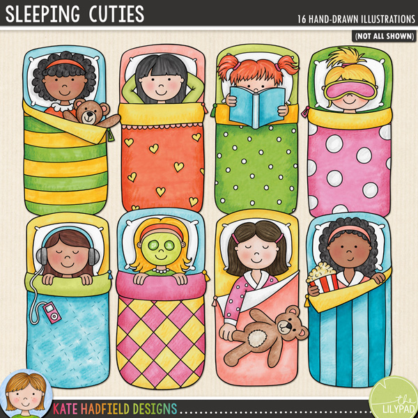 A set of little sleepover girls all tucked up in their sleeping bags enjoying their slumber party! Sleeping Cuties coordinates with my PJ Party doodles and contains 8 girls in sleeping bags, each girl is supplied in two different skin and hair tones for a total of 16 little sleeping beauties! These illustrations are perfect for adding a touch of hand-drawn whimsy to your slumber party layouts and invitations!FOR PERSONAL & EDUCATIONAL USE (please see myTerms of Usefor more information)