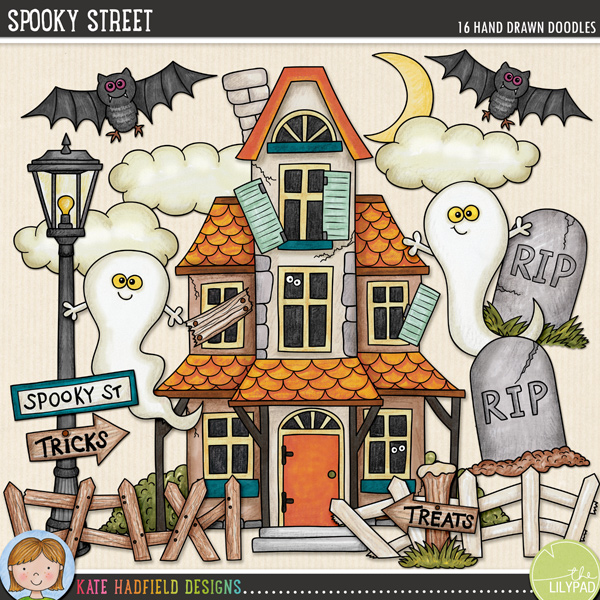 Spooky Street is an ever-so-slightly scary collection of haunted house doodles that's perfect for adding a touch of hand drawn whimsy to your Halloween pages and projects! Contains the following hand drawn doodles: bat; 2 clouds; 2 broken fences; 2 ghosts; haunted house; lamp post; moon; signpost; Spooky St street sign, treats and tricks signs; 2 tombstones.FOR PERSONAL & EDUCATIONAL USE (please see my Terms of Use for more information)