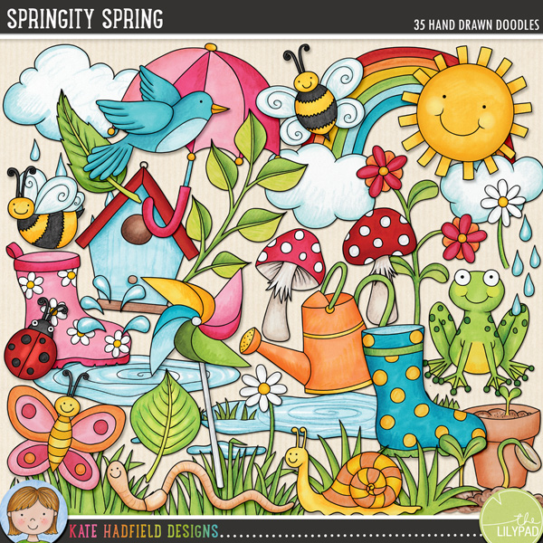 Bursting with fun colours and lots of springtime goodness, Springity Spring contains the following hand drawn and coloured doodles: 2 bumblebees, bird, birdhouse, butterfly, 2 clouds, 2 daisies, rain drops, flower, flowerpot, frog, 2 clumps of grass, ladybird, 2 leaves, sprig of leaves, 2 mushrooms, pinwheel, 2 puddles, rainbow, 2 seedlings, snail, splash, sun, 2 umbrellas, watering can, 2 wellington boots and 1 wriggly worm!FOR PERSONAL & EDUCATIONAL USE (please see my Terms of Use for more information)