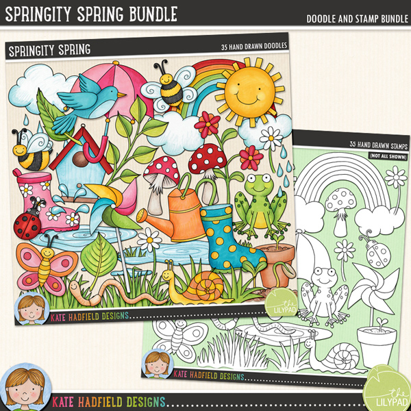 Bursting with fun colours and lots of springtime goodness, Springity Spring contains the following hand drawn and coloured doodles: 2 bumblebees, bird, birdhouse, butterfly, 2 clouds, 2 daisies, rain drops, flower, flowerpot, frog, 2 clumps of grass, ladybird, 2 leaves, sprig of leaves, 2 mushrooms, pinwheel, 2 puddles, rainbow, 2 seedlings, snail, splash, sun, 2 umbrellas, watering can, 2 wellington boots and 1 wriggly worm!Extra Value Bundle containing:Springity SpringSpringity Spring StampsFOR PERSONAL & EDUCATIONAL USE (please see myTerms of Usefor more information)