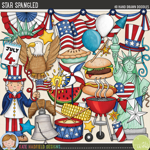 Star Spangled is a celebration of all things American! Perfect for your 4th of July celebrations, this pack contains the following hand drawn doodles: apple pie, 3 balloons, BBQ grill and smoke, bunting, burger, 4th of July calendar, cupcake, drum and drumsticks, eagle, 3 fireworks, 2 flags, flag banner, hat, heart, hot dog, Liberty Bell, liberty hat, pinwheel, sparkler, 6 stars, Statue of Liberty, 3 streamers, swags, corn, Uncle Sam and watermelon.FOR PERSONAL & EDUCATIONAL USE (please see my Terms of Use for more information)
