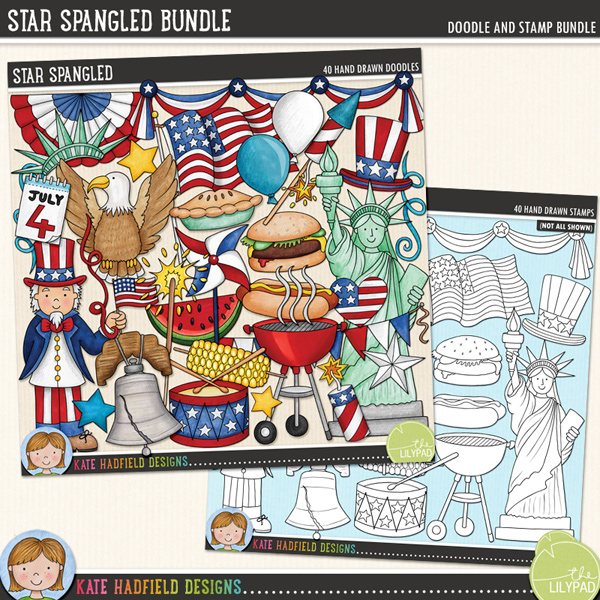 Star Spangled is a celebration of all things American! Perfect for your 4th of July celebrations, this pack contains the following hand drawn doodles: apple pie, 3 balloons, BBQ grill and smoke, bunting, burger, 4th of July calendar, cupcake, drum and drumsticks, eagle, 3 fireworks, 2 flags, flag banner, hat, heart, hot dog, Liberty Bell, liberty hat, pinwheel, sparkler, 6 stars, Statue of Liberty, 3 streamers, swags, corn, Uncle Sam and watermelon.	Extra value bundle containing:			Star Spangled			Star Spangled StampsFOR PERSONAL & EDUCATIONAL USE (please see my Terms of Use for more information)