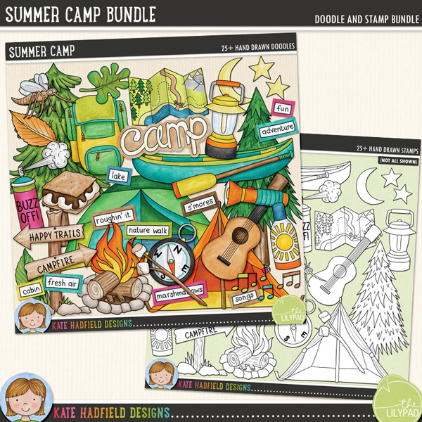 Hiking the nature trails, kayaking in the lakes, singing songs around the campfire, toasting marshmallows and making s'mores are all part of the rich experience of camping! This doodle pack celebrates the fun (and the bugs!) of summer camp!	Contains the following hand-drawn doodles: backpack, bug spray, campfire, canoe and oar, compass, guitar, lantern, 3 leaves, map, bag of marshmallows, marshmallows on a stick, moon and stars, mosquito, musical notes, sign, s'mores, bottle of sunblock, 2 tents, torch, 2 trees, camp, Summer Camp and Happy Camper wordart pieces.	Also contains the following wordy-bits: adventure, cabin, camp, camper, campfire, camping, canoe, fresh air, fun, great outdoors, happy camper, happy trails, hike, lake, marshmallows, mud, nature walk, roughin' it, s'mores, songs, stories, summer, tent, trail and under the stars	Extra Value Bundle pack containing: 			Summer Camp			Summer Camp StampsFOR PERSONAL & EDUCATIONAL USE (please see my Terms of Use for more information)